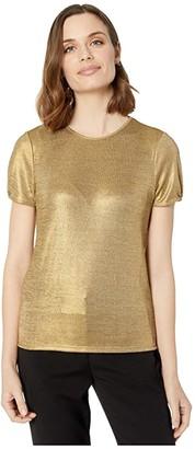 Lauren Ralph Lauren Metallic Tee (Silver) Women's Clothing