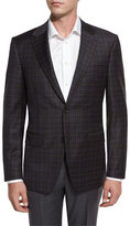 Canali Check Super 130s Wool Two-Button Sport Coat, Brown/Blue
