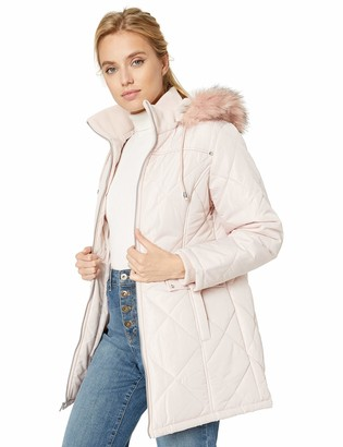 INTL d.e.t.a.i.l.s Women's Plus Size Diamond Quilt Puffer Coat with Fashion Faux Fur Trim