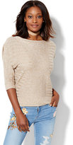 New York & Co. Shadow-Stripe Dolman Pullover Sweater - Marled Knit