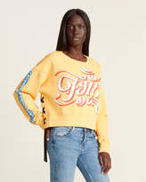 Faith Connexion Distressed Lace-Up Logo Sweater