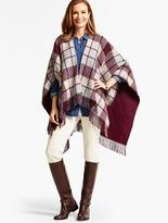 Talbots Fringed Plaid Double-Face Wrap