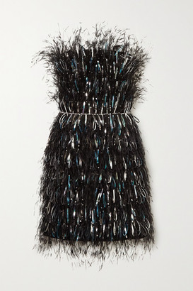 RALPH & RUSSO Embellished Feather-trimmed Satin Mini Dress - Black