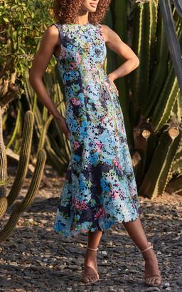 Monique Lhuillier Bouquet-Printed Guipure Lace Dress