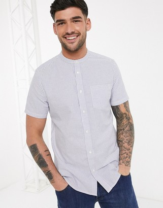 Burton Menswear short sleeve striped shirt with granddad collar in blue