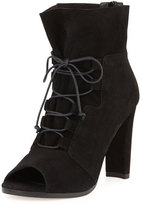 Stuart Weitzman Bound Lace-Up Peep-Toe Bootie, Black
