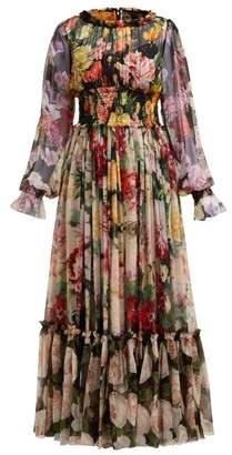 Dolce & Gabbana Rose And Hydrangea-print Silk-georgette Gown - Womens - Multi