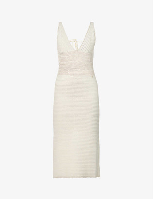 Valentino V-neck cotton-knit midi dress