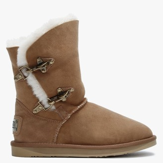 Australia Luxe Collective Renegade Tan Double Faced Sheepskin Ankle Boots