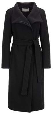 BOSS High-neck coat in a textured wool blend with cashmere