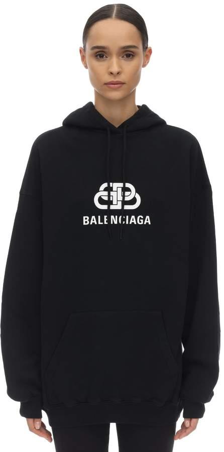 Balenciaga NEW BB LOGO JERSEY SWEATSHIRT HOODIE