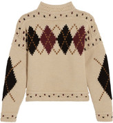 Isabel Marant Glens Argyle Intarsia Wool And Alpaca-blend Sweater - Ecru