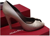 Salvatore Ferragamo Silver Leather Heels