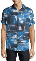 Robert Graham Rocky Island Multi-Printed Silk/Cotton Sport Shirt, Indigo