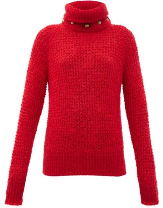 Balmain Detachable Roll-neck Wool-blend Sweater - Red