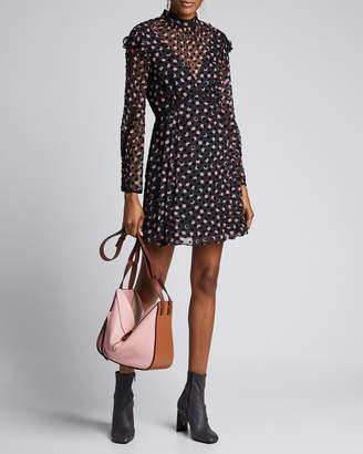 Diane von Furstenberg Elinor Textured Dot Ruffle Short Dress