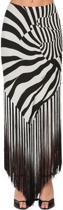 Roberto Cavalli Zebra Print Silk Skirt W/fringe