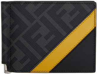 Fendi Black and Yellow Forever Bill Clip Wallet