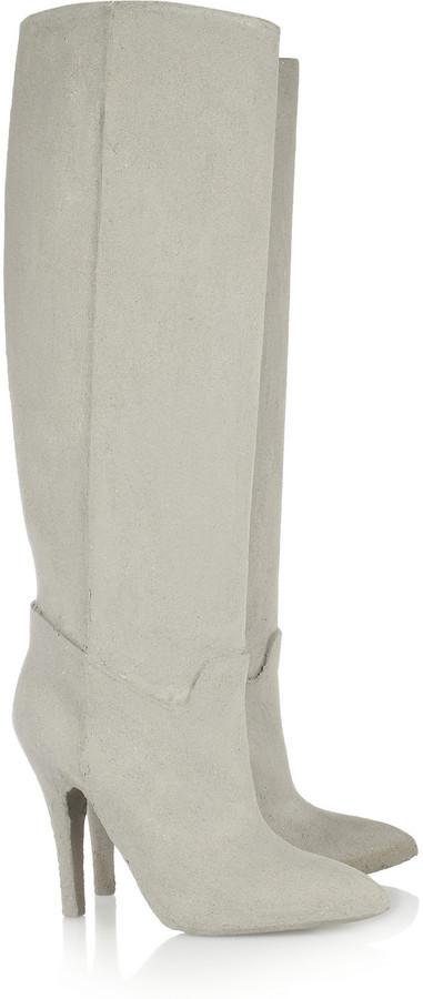 Maison Martin Margiela Cement-effect coated knee boots