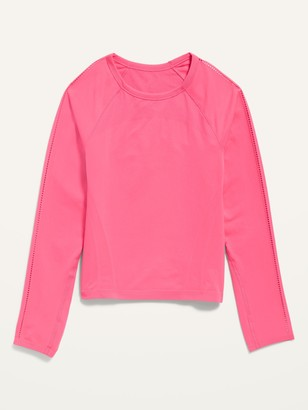 Old Navy Fitted Go-Dry Long-Sleeve Seamless Tee for Girls