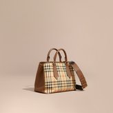 Burberry Leather Trim Horseferry Check Tote, Brown