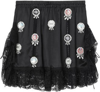 Burberry Bottle Cap Detail Satin and Lace Shorts