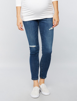 A Pea in the Pod Ag Jeans Secret Fit Belly Legging Ankle Destructed Maternity Jeans