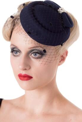 Dancing Days Vintage 40's 50's Fascinator Net Bow Pearl Judy Wedding Hat - Navy Blue