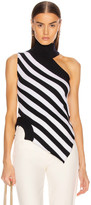 Monse One Shoulder Striped Turtleneck Sweater in Midnight & Ivory | FWRD