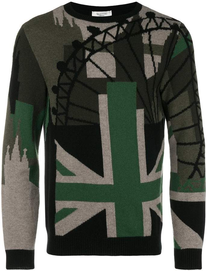 Valentino contrast patch fitted sweater