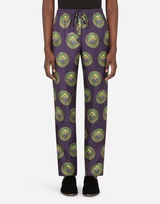 Dolce & Gabbana Polka-Dot And Peacock-Print Silk Pajama Pants