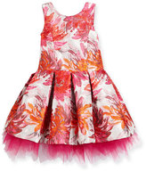 Zoe Sleeveless Pleated Floral Brocade Dress, Pink, Size 2-6X