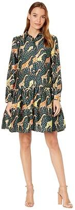 J.Crew Drop Waist Button-Up Dress (Navy Saffron) Women's Dress