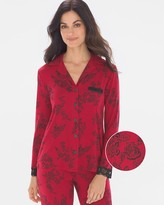 Cool Nights Signature Lace Long Sleeve Notch Collar Pajama Top Lace Floral Red