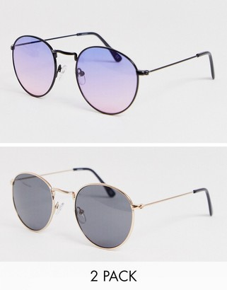 Design DESIGN round sunglasses 2 pack with gold frames and purple grad lenses save