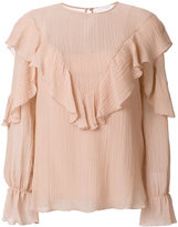 See by Chloe frilled blouse - women - Silk/Cotton - 36