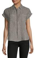 Saks Fifth Avenue Gingham Boxy Button-Down Tee