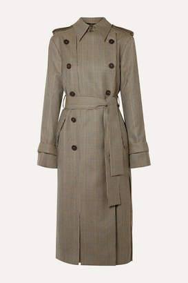 Rokh Double-breasted Paneled Houndstooth Wool Trench Coat - Beige