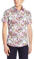 Stone Rose Men's Floral Check Short Sleeve Button Down Shirt