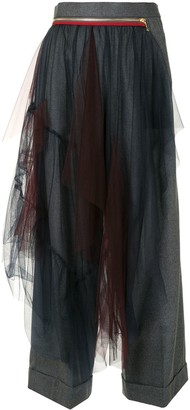 Kolor Tulle Panel Wide-Leg Trousers