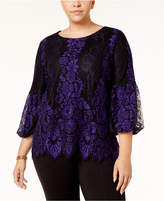 Alfani Plus Size Lace Bell-Sleeve Blouse, Created for Macy's