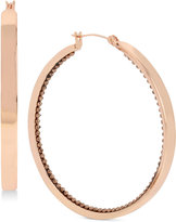 Touch of Silver Rose Gold-Tone Hoop Earrings