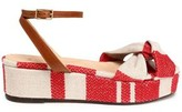 Castaner Leather-Trimmed Striped Woven Platform Sandals