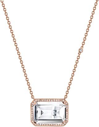 Shay Deco Eye White Topaz & Diamond Portrait Pendant Necklace