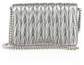 Miu Miu Matelasse Woven Leather & Chain Crossbody