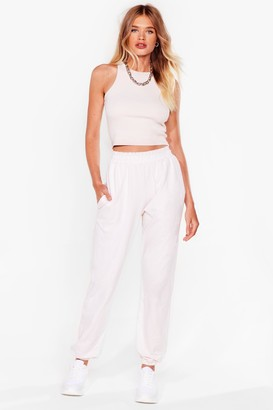 Nasty Gal Womens Just Relax Racerback Crop Top and Jogger Set - Cream - 14