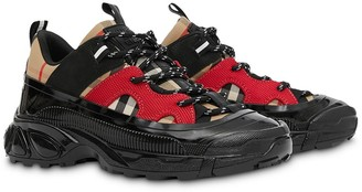 BURBERRY KIDS Vintage Check print contrast panel sneakers