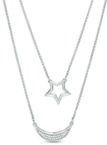 Zales Diamond Accent Star and Crescent Moon Double Stand Necklace in Sterling Silver - 20""