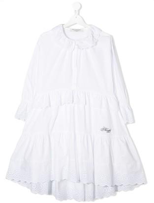Philosophy Di Lorenzo Serafini Kids TEEN ruffle embroidered dress