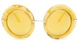 Dolce & Gabbana Round-frame glitter-acetate sunglasses